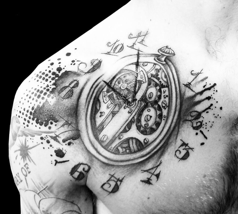 Переводная тату купить Временная татуировка Шестерёнки 34367 в ...   854x950