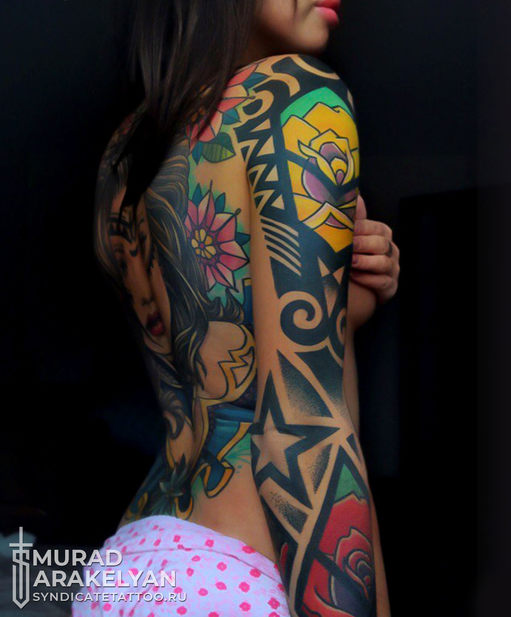 тату в стиле colortattoo, newschool, geometry, мастер Мурад Аракелян