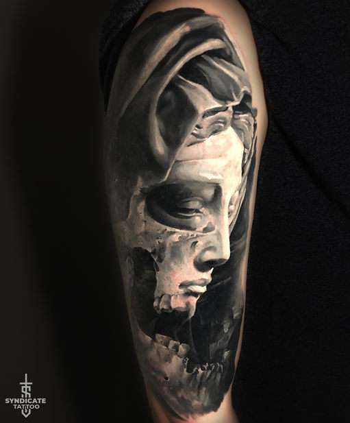 тату в стиле realism, blackandgray, portrait, cover-up, мастер Кирилл Федосеев
