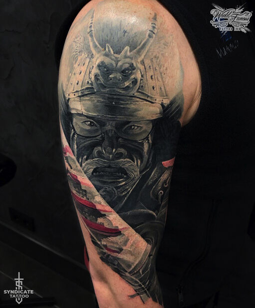 тату в стиле realism, blackandgray, colortattoo, japan, portrait, мастер Кирилл Федосеев
